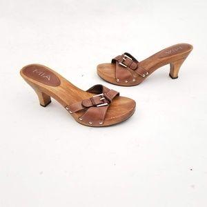 MIA Wooden Heels w leather Buckle Size 8